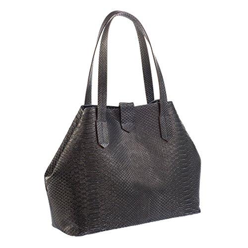 Borsa/shopper a spalla made in italy - in pelle stampa pitone laminato, vari colori - chiusura con calamita e tasche interne (grigio scuro)