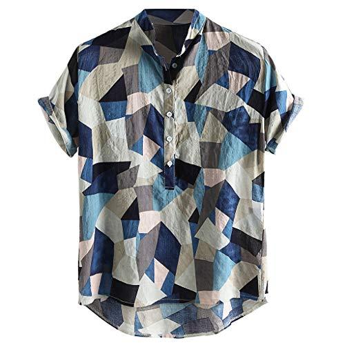 Herren Freizeit Baumwolle Shirt Hawaiihemd Kurzarm Aloha Freizeit Hemd Button Down Graphic Hemden Shirts Herrenhemd Einfäbige Oberteile Männer Golf T-Shirt Freizeit Blouse Ag Aviator
