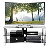 1home - Supporto per TV in vetro per LCD LED Plasma 3D, colore: nero, Black, 120 cm curved