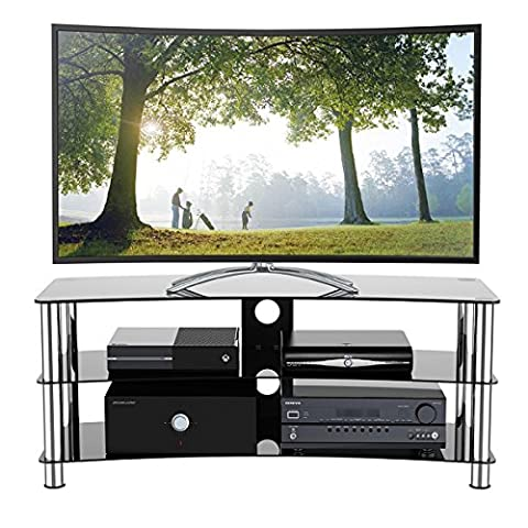 1home GT6 LCD-/Plasma-TV Rack Glas Tisch Ständer LCD Rack LED Tisch Fernsehtisch Schwarz Glas drei Ablagen 32 - 70 (Wie Groß Ist Ein 32 Zoll Fernseher)