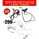 All Brand Mobiles Supported Head Phone With Mic (Black Color +White Color) Combo ( Cheap And Best ) For All Model - Mobiles Noise Isolating Earbud Headphones With Built - In Mic - Stereo Sound - Compatible With Smartphones, Tablets, Mp3 Players, Laptops,