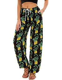 Urban GoCo Femmes Boho Harem Pantalon Dames Floral Imprimer Élastiquée Taille Pantalon