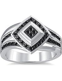 Silvernshine 1.35Ctw Round Cut Black Simuleted Diamonds 14K White Gold Plated Engagement Ring