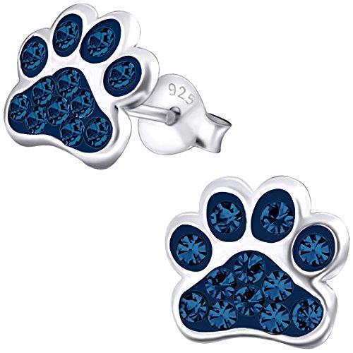 JAYARE Kinder-Ohrstecker Tier Pfoten Tatze 925 Sterling Silber Glitzer Kristalle 9 mm montana-blau Mädchen-Ohrringe im Geschenketui (Montana Silber Ohrringe)