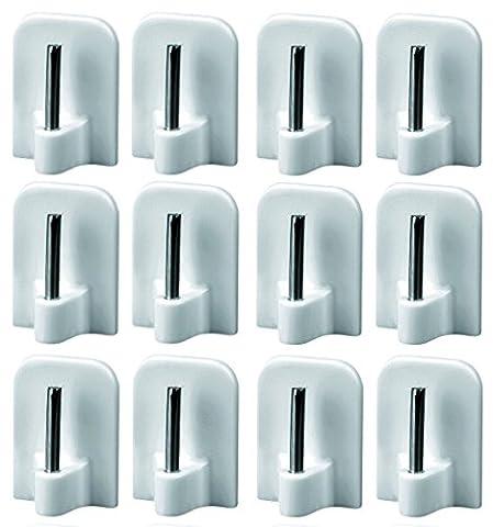 12 Stück Gardinenhaken selbstklebend, Klebehaken für Vitragestangen, Aus Kunststoff mit Metallstift, Weiß, (24 Mm Haken)