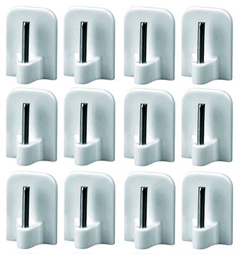 12 Stück Gardinenhaken selbstklebend Klebehaken für Vitragestangen, Klebehaken Fenster Gardine, Weiß, 16x24mm