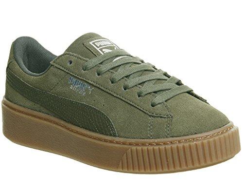 Puma Basket Platform Reset W chaussures Olive Silver Gum
