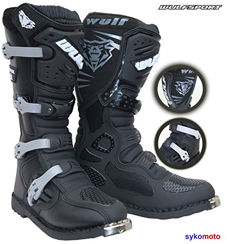 WULFSPORT Track Star Fibra Botas DE Motocross MX Adultos Quad Carreras Enduro Deportes Protection Boots Negro (EU 46/UK 12)