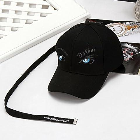 Hatrita-J Baseball Hut Eye Brow Malerei lange hooded Schirmmütze Visier verstellbar Schwarz