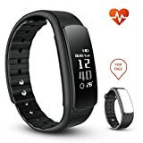 iWOWNfit i6 HR Fitness Tracker Smart Bracelet with Heart Rate Monitor Activity Tracker Deep/Light Sleep Monitor Weather Monitor Waterproof IP67 Sports Pedometer with replacement wristband for iPhone Android