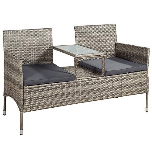 ArtLife Polyrattan Gartenbank Monaco mit integriertem Tisch grau-meliert | dunkelgraue Bezüge | Sitzgruppe Terrassenmöbel Balkonmöbel