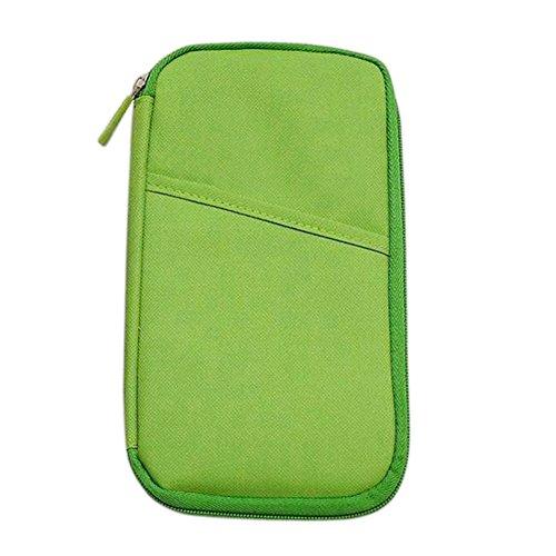 Hrph Multifunktionale Taschen Travel-Pass-Halter Ticket Geldbeutel Handtasche ID Kreditkarte -Kasten-Organisator-Beutel Green