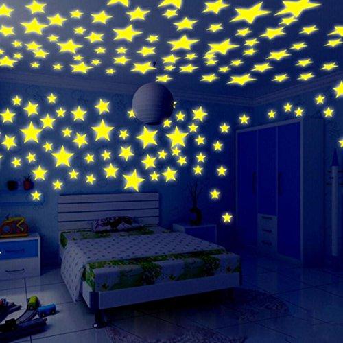 BZLine® 100PC Kinder Schlafzimmer fluoreszierende Glühen in den dunklen Sternen Wandaufkleber (Gelb) (Glühen In Den Dunklen Sternen)