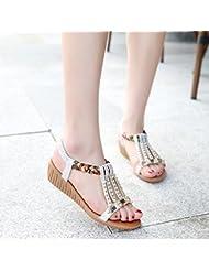 XY&GK Sandalias de mujer de fondo plano de Diamante pies sandalias mujeres estudiantes de verano Calzado de Playa Blanca 39