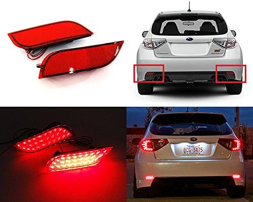 2x rot Objektiv Stoßstange hinten Reflektor LED Nebel Schwanz Stop Bremslicht DRL für 2008-up Impreza WRX STI Legacy XV Exiga