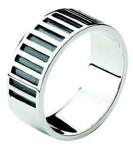 Dew Sterling Silver Men's Stripe Ring 28079OX004 - Size T