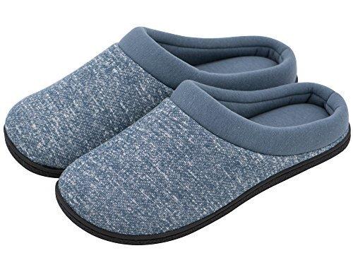HomeTop - Zapatillas de Estar por casa de Forro Polar para Hombre Azul Azul ,44-45 EU