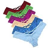 Bonjouree Femme Sexy String e Tangas Slip de Dentelle Culottes Taille Basse Lot de 6