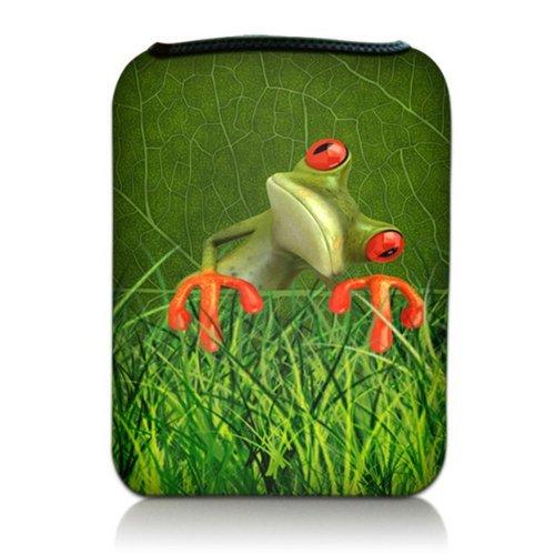 Luxburg® Design Tasche Hülle Sleeve Schutzhülle für Kindle Fire HD 7 | Samsung Galaxy Tab 3 (7 Zoll) | Asus Google Nexus 7 | Odys Pedi Plus (7 Zoll) | Asus Google MeMO Pad HD 7 | Samsung Galaxy Tab 2 (7 Zoll) | Kindle Fire HDX 7 | Lenovo IdeaTablet (7 Zoll), Motiv: Frosch im Gras (7 Für Kinder Pad Memo Asus Hülle)