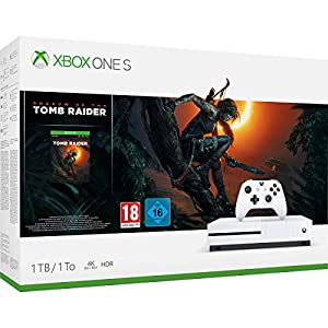 "Xbox One S weiß 1TB Spielkonsole 4K HDR mit ""Shadow of the Tomb Raider"""