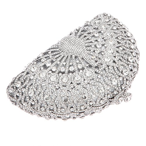 Bonjanvye Glitter Crystal Peacock Clutch for Girls Peacock Clutch Evening Bag Smoky Yellow silver