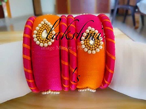 pink-and-orange-silk-thread-indian-fashion-bangles-with-pearl-stones-and-teardrop-shaped-kundan
