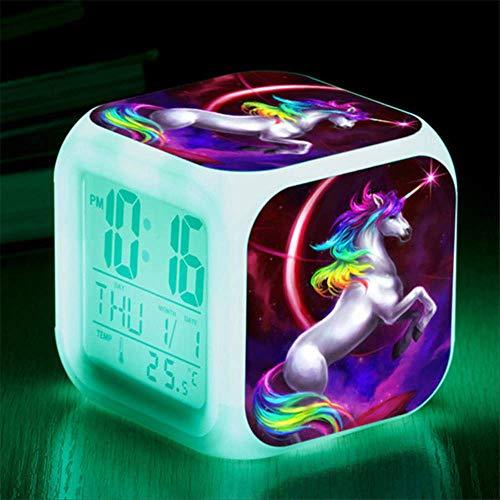 Xzndv Reloj de Alarma con Estampado Floral 3D de Unicornio de Dibujos Animados,Relojes Digitales LED,Reloj...