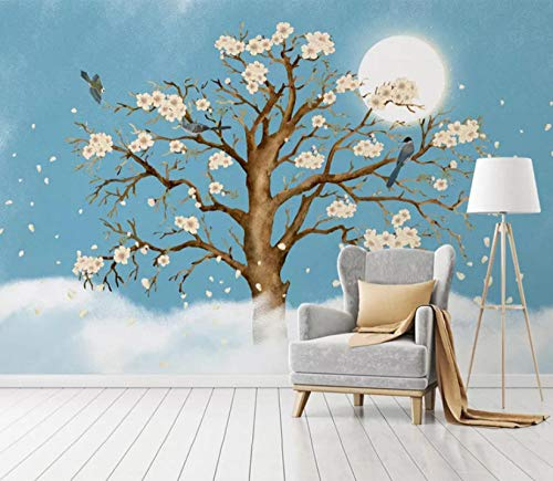 ete 3D DIY Nordische Fantasie-Blumen-Vogel-Baum-Mode Sofa Background Wall Für Wohnzimmerwand Tapete (W) 366X(H) 254Cm Silk Cloth ()
