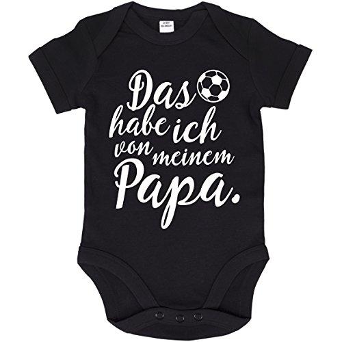 JUNIWORDS Babybody Kurzarm - 100% Baumwolle - Wähle Motiv, Farbe & Größe -'Das habe ich von meinem Papa' - Schwarz - Größe: 66-76 cm