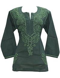 INDIAN HANDICRAFT STANDARDS Chikankaari Dark Green Kashmiri Needle-craft 100% Soft Cotton Short Kurti With Free...