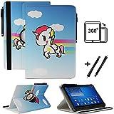 Tablet 10.1 Zoll Hülle für Jay-tech TXE10DW2 Schutzhülle Etui Case mit Touch Pen & Standfunktion - Einhorn 2 360
