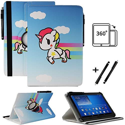 Tablet 10.1 Zoll Hülle für NINETEC Ultratab 10 Pro Schutzhülle Etui Case mit Touch Pen und Standfunktion - Einhorn 2 360