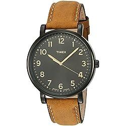 Timex - Unisex - T2N677 - Timex Heritage Easy Reader - Quartz Analogique - Noir - Marron - Cuir