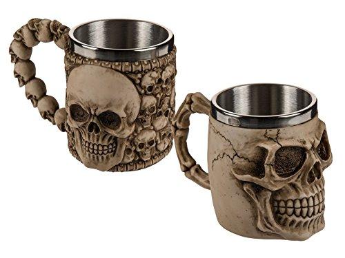 Bierkrug,Becher,Kelch Skull Totenkopf aus Polyresin mit Edelstahleinsatz