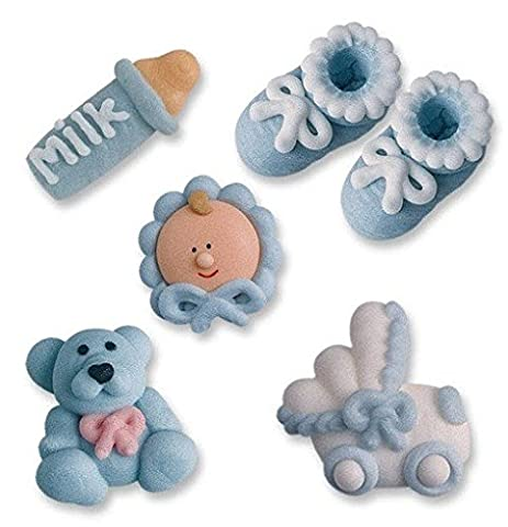 16 pieces of sugar figures for baptism, blue