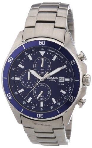 Boccia - 3762-02 - Montre Homme - Quartz Chronographe - Chronomètre/Aiguilles/Luminescent - Bracelet Titane Argent