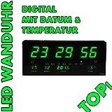 LED Uhr Led Wanduhr mit Datum und Temperatur Anzeige Digital, geeignet für Büro, Bar, Cafe uvm NEU! Noyan® (Grün)