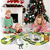 Aofmee Dinosaur Toy Jurassic World for Kids, Build and Create a Flexible Race Car Track with Children, Perfect Christmas Birthday Gift for 3 4 5 6 7 Year Old Toddler Boys Girls with 142 Pieces