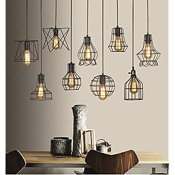 luminaire suspendre gdraven style r tro industriel en m tal avec effet de cage pour cuisine. Black Bedroom Furniture Sets. Home Design Ideas
