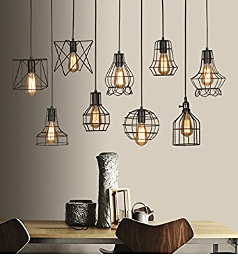 best vintage industriel en mtal noir suspendre plafonnier cage lampe garde pendentif abatjour. Black Bedroom Furniture Sets. Home Design Ideas