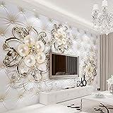 Mural Papel Pintado Pared Mural Personalizado Fondo De Estilo Europeo 3D Paquete Suave Diamante Perla Flor De Fondo Pintura De La Pared Sala De Estar Decoración Wallpaper 400X280Cm