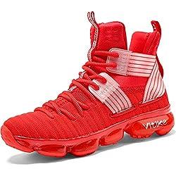 Zapatillas Unisex Niños Zapatos de Baloncesto Casual Zapatos Correr Sneakers para Hombre, 8 Rojo, 41 EU