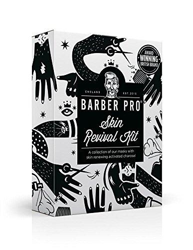 BARBER PRO Skin Revival Kit, Gentlemen's Sheet Mask, Under Eye Mask, Foaming Mask & Face Putty (4 Masks) (Putty Kit)
