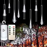 [Remote,Timer] Outdoor Waterproof Festive Holiday String Lights Battery Powered, Christmas Fairy Light, House Curtain Patio Yard Porch Birthday Party Wedding Tree Event Decor(8 Tubes 144 Led,White)
