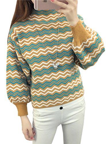 Smile YKK Pull Court Femme Chandail Manche Bouffant Sweat-shirt Automne Hiver Vague Rayure Jaune Blanc