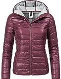 Fresh Made Damen Übergangsjacke Herbst-Jacke mit Kapuze 44399A Aubergine Gr. L