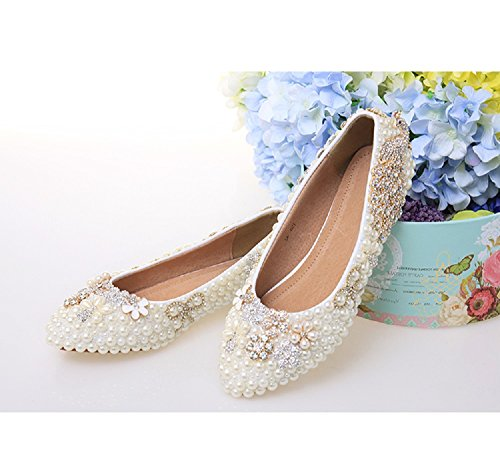 THE LONDON STORE Women's White & Golden Pearl Flat Pumps (US-9, White)