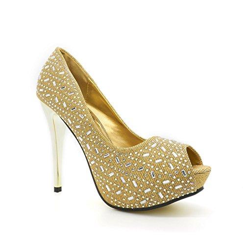 London Footwear , Damen Peep Toes Gold