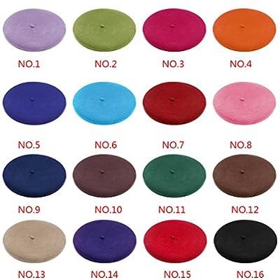 Vollter Damen Wollmützen mit klassischen Solid Color Caps Casual Beanie Baskenmützen