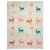 pad Kuscheldecke - Wohndecke Bambi creme / red - Decke 150 x 200 cm